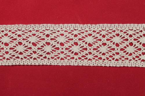 Merletto di cotone Bianco di mt 10, altezza 6,5 cm, in Cotone