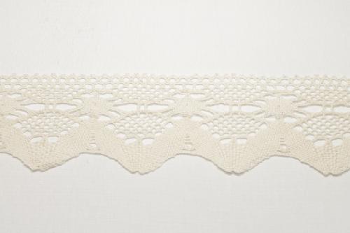 Merletto di cotone panna di mt 10, altezza 7,5 cm, in cotone