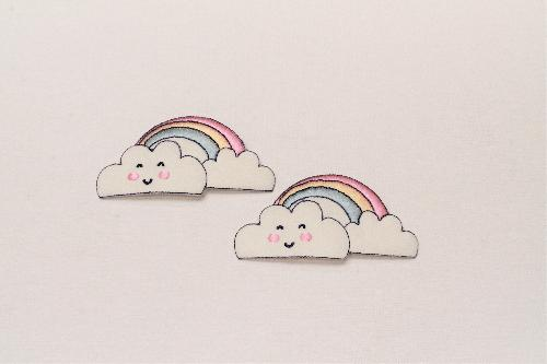 FASHION APPLICATION CLOUDS WITH RAINBOW HEIGHT 4.5 CM - PACKAGE 2 PCS